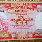 Hongkong 100 dolar 1974 Mercantile Bank Limited anverso