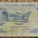 Libano 5 libras 1955 (145x74mm) pk.56b anverso