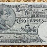 Bélgica 5 francos 1938 anverso