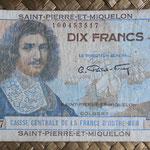 San Pedro y Miguelón 10 francos 1950-1960 (119x63mm) pk.23 anverso