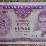 Zambia 50 ngwees 1968 (120x65mm) pk.4a anverso
