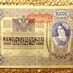 Imperio Austrohúngaro 10000 coronas 1918 resello Deutschosterreich 1919 anverso