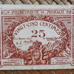 Mónaco, 25 céntimos 1920 (70x50mm) pk.1a anverso