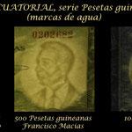 Guinea Ecuatorial 1ª serie pesetas guineanas 1969 marcas de agua