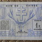 Nueva Caledonia 1 franco 1943 Bono -Tesoro de Noumea (114x70mm) pk.55a reverso
