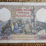 Argelia 5000  francos 1942 (238x136mm) pk.90a reverso