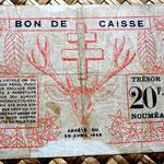 Nueva Caledonia WWII 20 francos 1943 reverso