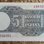 España 5 pesetas 1948 pk.136 reverso
