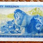 Kenia 20 shilingis 1975 (144x76mm) reverso