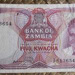 Zambia 5 kwachas 1973 (145x72mm) pk.15a anverso