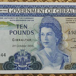 Gibraltar 10 pounds 1986 (152x85mm) pk.22b anverso