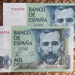 España 1.000 pesetas 1979 (138x75mm) pk.158 pareja sin serie anversos