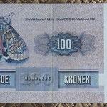 Dinamarca 100 coronas 1975 (150x78mm) pk.51b reverso
