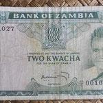 Zambia 2 kwachas 1969 (135x70mm) pk.11c anverso