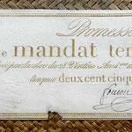 Francia Promesa de Mandato Territorial 250 francos 1796 (WPM pk. A85b) 260x110mm anverso