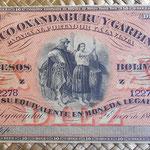 Argentina 10 pesos bolivianos 1869 Oxandaburu y Garbino (188x82mm) pkS1784r anverso