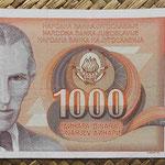 Yugoslavia 1000 dinares 1990 (164x74mm) pk.107 anverso