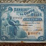 Congo belga 5 francos 1947 (100x80mm) pk.13Ad anverso
