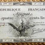 Francia Asignado 400 libras 1792 uniface