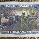 Zambia 50 ngwees 1973 (120x65mm) pk.14a reverso