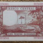Guinea Ecuatorial 100 pesetas 1969 resello 1000 bipkwele 1980 (138x88mm) pk.18 reverso