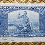 Canada 5 dollars 1937 pk.60b reverso