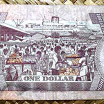 Islas Fiji 1 dollar 1980 (156x67mm) pk.76a reverso