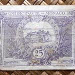 Monaco 25 ctmos. de franco 1920 (75x50mm) reverso