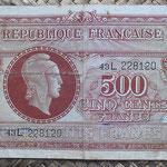 Francia 500 francos 1945 (138x78mm) pk.106 anverso