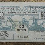 Nueva Caledonia 50 céntimos 1943 Bono -Tesoro de Noumea (114x70mm) pk.54 anverso