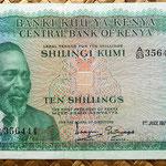 Kenia 10 shilingis 1972 (145x72mm) anverso
