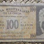 Grecia ocup. italiana WWII 100 dracmas 1941 (110x55mm) pk.M4 anverso