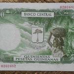 Guinea Ecuatorial 500 pesetas 1969 (146x94mm) pk.2 reverso