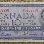 Canada 10 dollars 1954 (152x70mm) pk.79b anverso