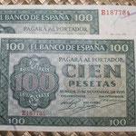 España 100 pesetas 1936 (160x85mm) pk.101 pareja correlativa anversos