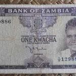 Zambia 1 kwacha 1968 (130x68mm) pk.5a anverso