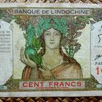 Tahiti 100 francos 1963 (205x115mm) pk.14d anverso