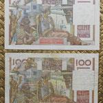 Francia 100 francos 4-09-1652 vs 2-10-1952 reversos