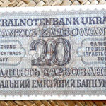 Ucrania ocupación alemana WWII 20 karbovanets 1942 reverso