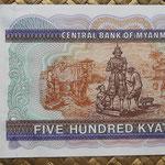 Myanmar 500 kyats 1994 (168x79mm) pk.76b reverso