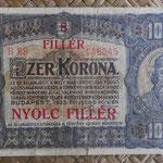 Hungria 1.000 coronas - resello 8 filler 1924 (135x78mm) pk.81b anverso