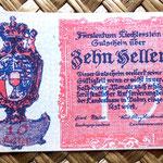 Liechtenstein 10 heller 1920 (70x45mm) anverso
