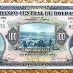 Bolivia 100 bolivianos 1928 (170x86mm) anverso