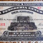 México 1 peso oro 1916 Tesoreria Estado de Yucatán -Mérida 1 peso oro 1916 (178x82mm) anverso