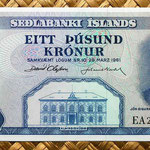 Islandia 1000 coronas 1961 (160x70mm) anverso