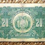 Bolivia 20 bolivianos 1928 (160x80mm) reverso