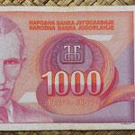 Yugoslavia 1000 dinares 1992 (164x74mm) pk.114 anverso