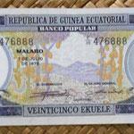 Guinea Ecuatorial 25 ekuele 1975 (145x62mm) anverso