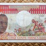 Gabón 500 francos 1974 anverso