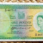 Rhodesia & Nyasaland 1 pound 1960 anverso